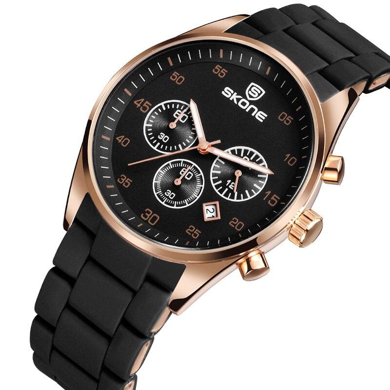 SKONE  New 2018 Fashion Luxury Watch Men Silicone Band Calendar Erkek Saat Reloj Mujer Business Clock Men Horloges Mannen XFCS<br>