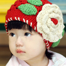 Baby Kids Girls Cute Red Knit Crochet Hollow Big Flowers Winter Hat Cap For 1-2Y(China)