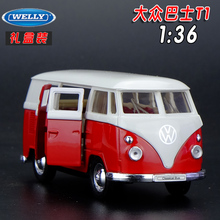 1pc 1:36 11cm delicacy WELLY classic Volkswagen bus T1 pull back alloy model home decoration boy toy gift(China)