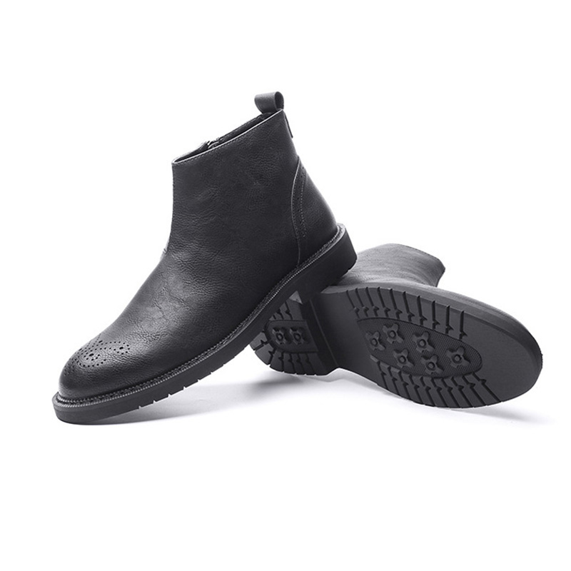 New Autumn Early Winter Shoes Men Boots Casual Leather Men Ankle Boots Zip Male Leather Chelsea Boots A1519