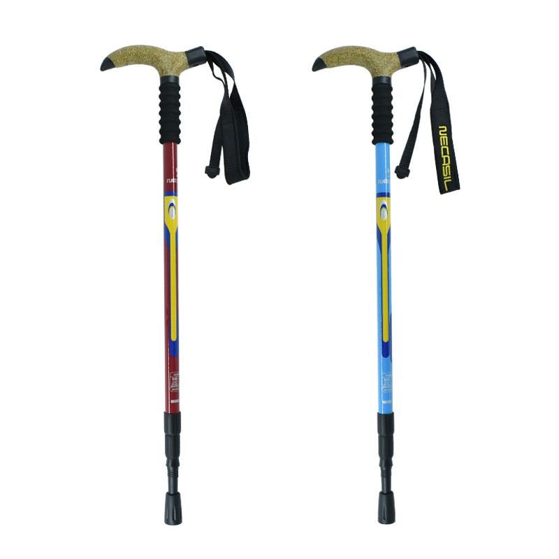 High Grade Walking Stick Aviation Carbon Fiber Material Ultralight T-Handle Trekking Pole Free Adjustable Length Alpenstock<br>