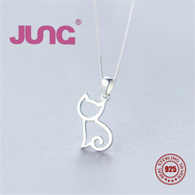 JUNG[Dec.25 Buy 1 get 1] 925 Sterling Silver Necklace Hollow Kitten Cat Pet Gift Charms Pendant Set Jewelry Accessories Women(China)