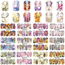 ZKO 1 Sheet Charming Feathers Dream Catcher Nail Art Water Tattoo Design Nails Flowers Water Transfer Decals A1309-1320