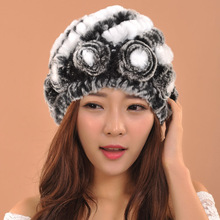 2016 New Luxury Knitted Rose Rabbit Fur Hat skullies beanies Women Care Warm Head Winter Hat Korean Style Knitted Hat