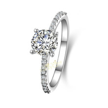 1 CT Sterling Silver Jewelry  Diamond Ring Engagement Fine Jewelry Pt950 Platinum Plated Wholesale Jewellery Designer