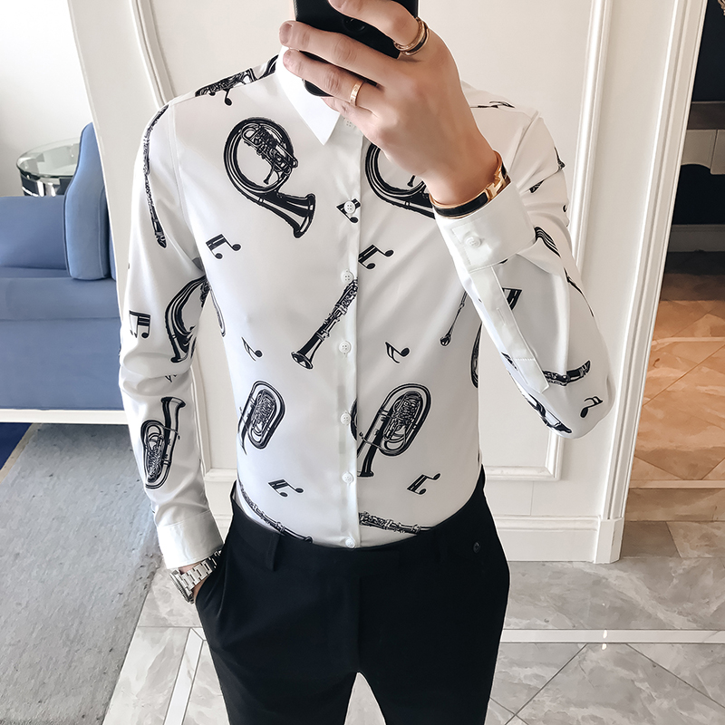 2018 new spring trend floral print white shirt male long-sleeved Slim Korean business casual men's shirt