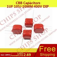 1LOT=20PCS CBB Capacitors 1uF 105J 10MM 400V DIP 1000nF 1000000pF