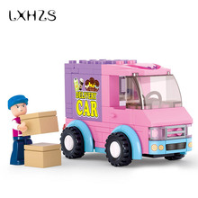 Pink Dream Series Truck Supermarket Distribution Vehicles Car Building Blocks Brick Toys Education Kid Gift 102pcs/set