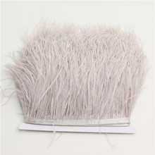 1meter/lot Natural Ostrich Feather fringe silver gray Ostrich feather Trimming 10-15cm Feather Boa Stripe for Party Clothes