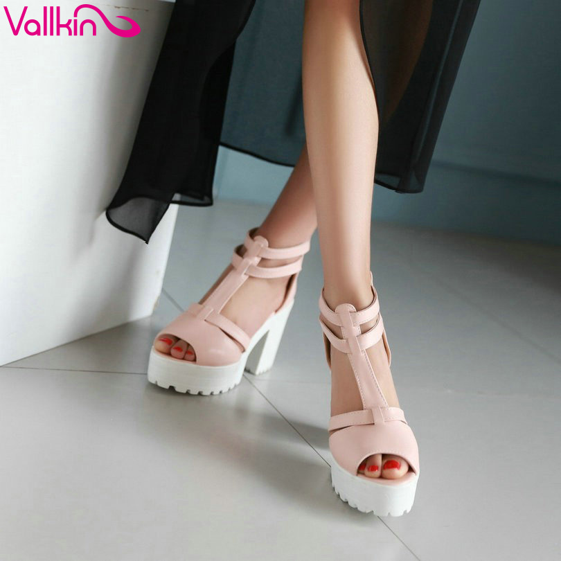 VALLKIN New Gladiator Zippers Western Style Size 34-39 Woman Pumps Squre Heel Soft Open Toe Summer Solid Sandals Women Shoes<br><br>Aliexpress