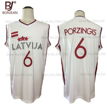 BONJEAN 2017 Mens Cheap Throwback Basketball Jersey Kristaps Porzingis 6 Latvija White Basketball Jersey Stitched Retro Shirts(China)