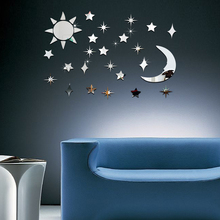 32pcs Acrylic Mirror Wall Stickers 3D Sun Star Moon Stickers DIY Home Wall Decoration(China)