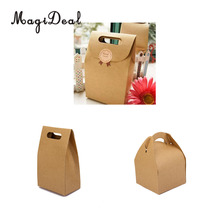MagiDeal 5pcs/Lot Brown Kraft Paper Party Loot Treat Gift Goody Bags Cupcake Muffin Candy Boxes Gifts Packing(China)