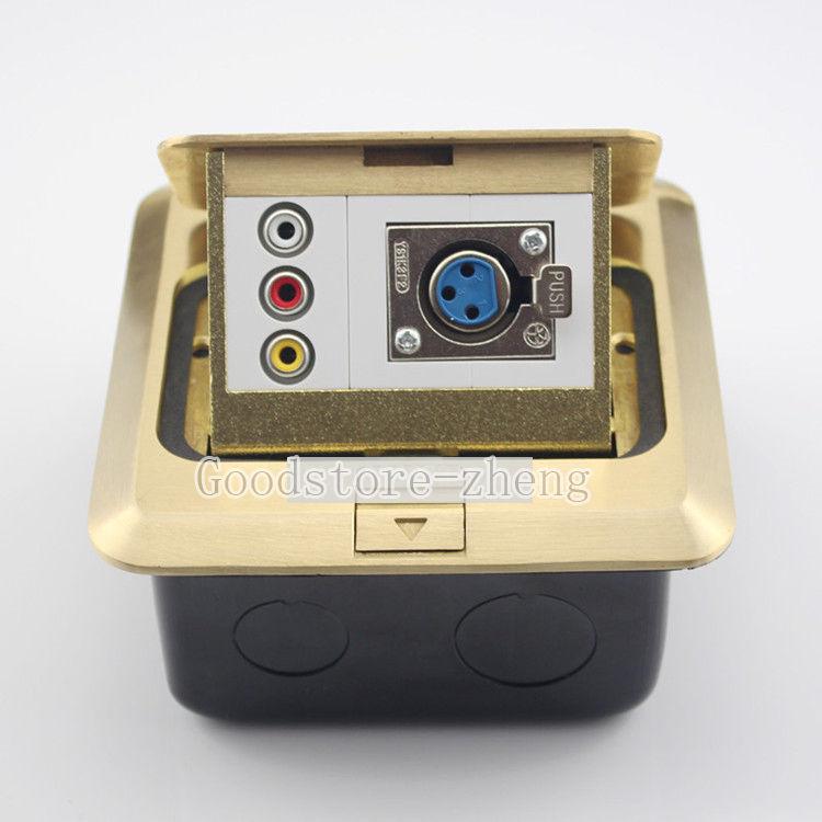 Bronze Pop-up XLR Female &amp; RCA AV  Floor Panel Ground Outlet Socket Receptacle<br>