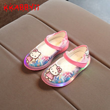 KKABBYII Hot Cartoon Hello Kitty Girls Shoe New Spring Autumn Children Causal LED Flash Shoes For Girl kids Casual Glowing Shoes