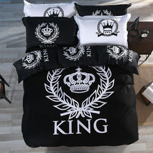 Luxury Royal king queen pattern white black bedding set 3pcs or 4pcs cotton duvet cover set  bed sheet pillowcase cover