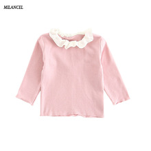 2017 Spring Autumn New Baby Girls Clothing Solid Kids Blouse Long Sleeve Children Blouse Flower Collar Blouse Casual Tops