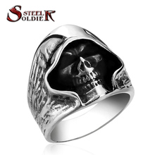steel soldier  good detail the death skull vintage ring for man stainless steel movie style hot sale skull jewelry BR8-156