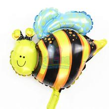 Lovely 10pcs/lot mini bee balloon foil helium globo air inflatable animal insect toy for wedding birthday party decoration MN072