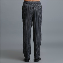 Hot selling men's chef pants Kitchen Trouser bottoms ajustable waist with elastic band food service pants black color