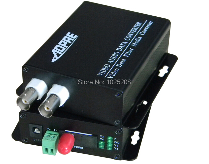 1pair 2 channel video data fiber optic media converter,1v1d,RS485,FC / Single mode