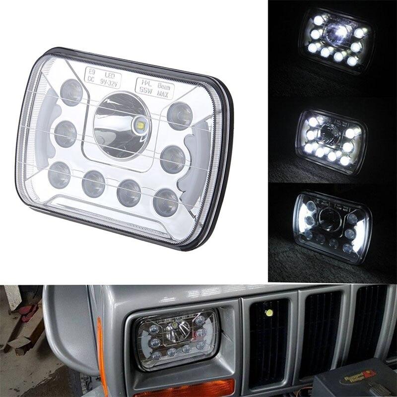2X Hi/Lo Beam 7x6 Led Headlight with DRL for Jeep Wrangler YJ Cherokee XJ Trucks 5x7 INCH LED Headlamp<br>