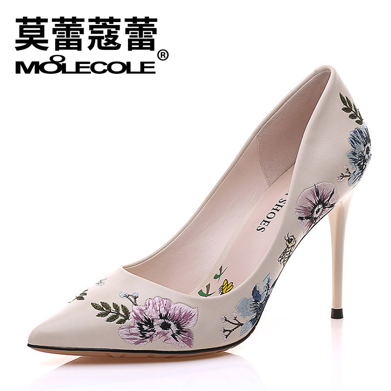 MOOLECOLE Women High Heel Shoes Basic Model Pumps Lady Sexy Pointed Toe Office Shoes Beige Black Pumps Handmade Embroider Shoes<br>