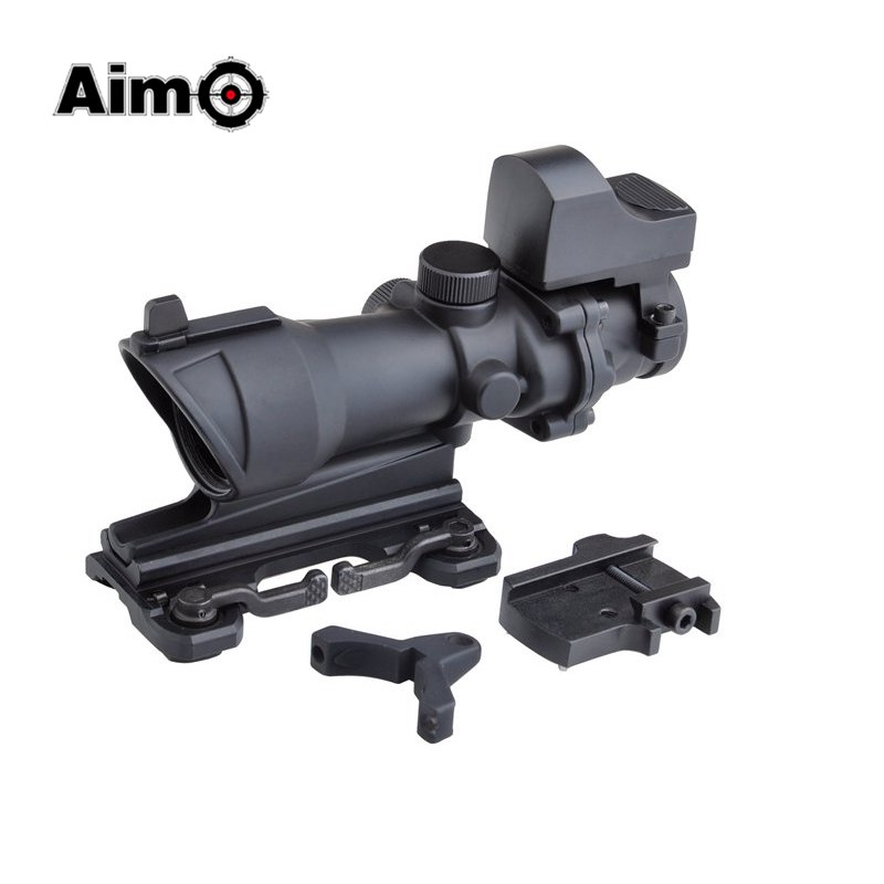 Aim O ACOG 4x32 Optical Rifle Scope and Mini Red Dot Real Red Optic Fiber Imager For hunting QD Mount 1 set AO5316(China (Mainland))