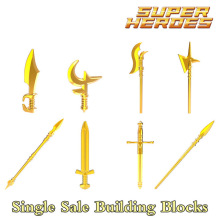Building Blocks Golden Rome Weapons Super Heroes Medieval Knights Action Armor Accessories Bricks Kids DIY Toys Hobbies