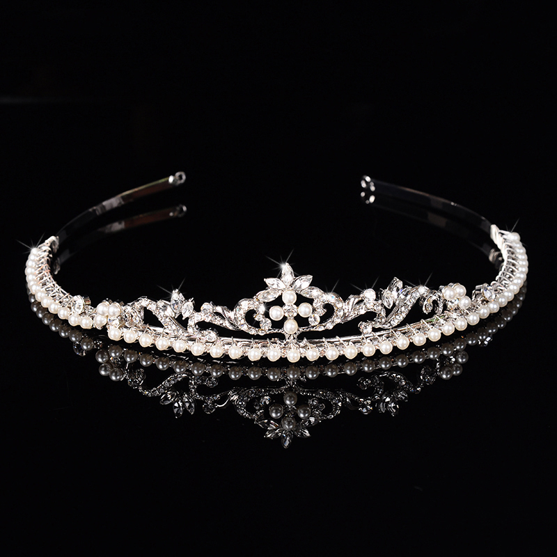 New Fashion Simulated Pearl Crystal Bridal Crown Tiara For Women Girl Party Luxury Hair Jewelry Wedding Hair Accessories SHHF014(China (Mainland))