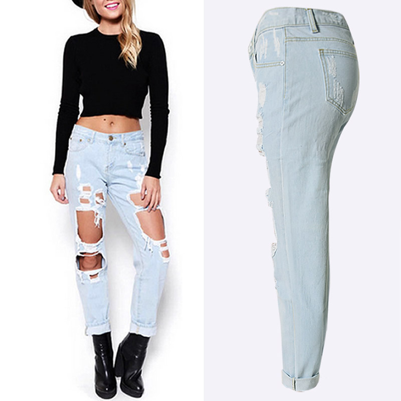 Hip hop high waist jeans Fashion style torn and frayed ripped zipper fly balmai biker jeans for women long Washed denim trousersОдежда и ак�е��уары<br><br><br>Aliexpress