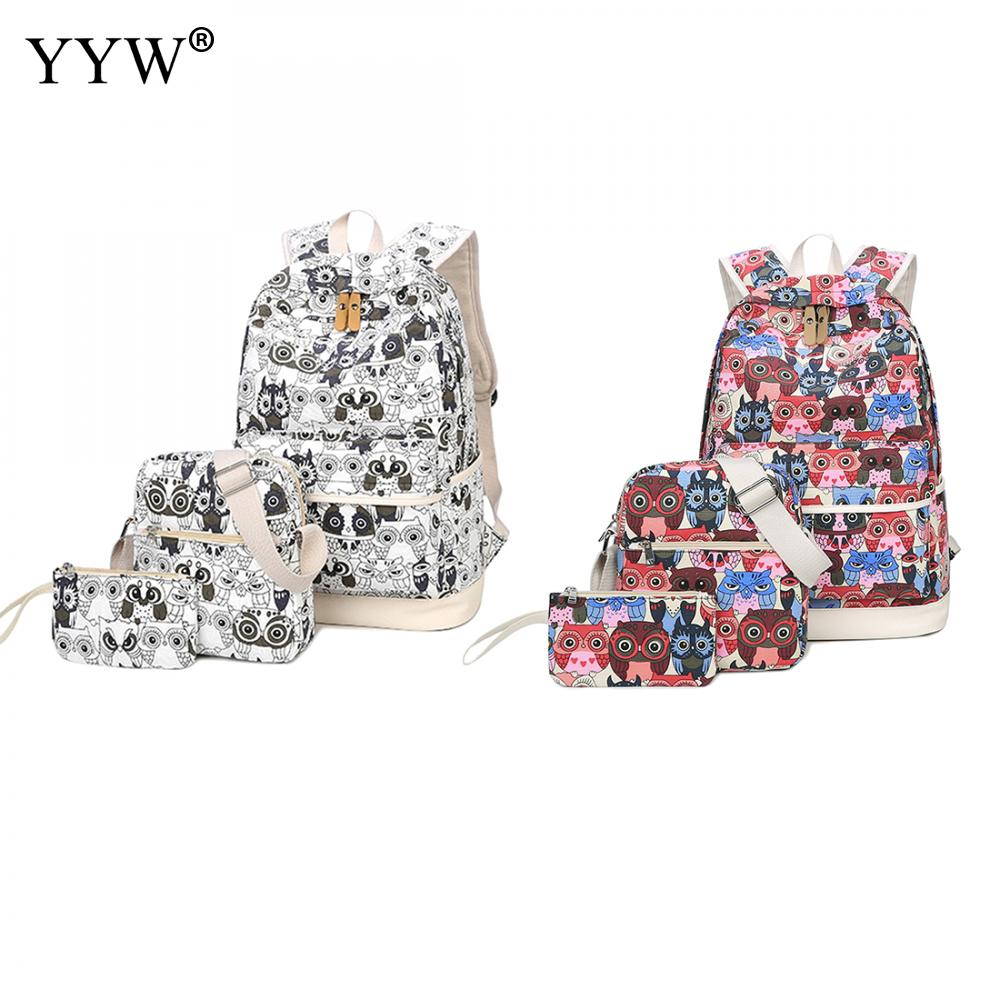 3 PCS/Set Unisex Canvas Backpack and Shoulder Clutch Bag Zipper White Owl Backpack Female Softback Large Capacity School Bag <br>