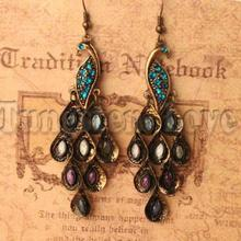 European Bronze Colour Restoring Ancient Ways Peacock Earrings with Color Crystals Paved (one pair)(China)