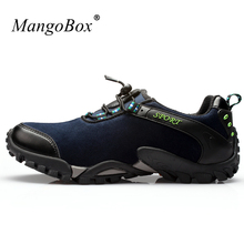 2016 Mens Trekking Shoes Blue Walking Footwear Brown Hiking Boots Autumn Leather Backpacking Boots New Cool Trekking Sneakers(China)