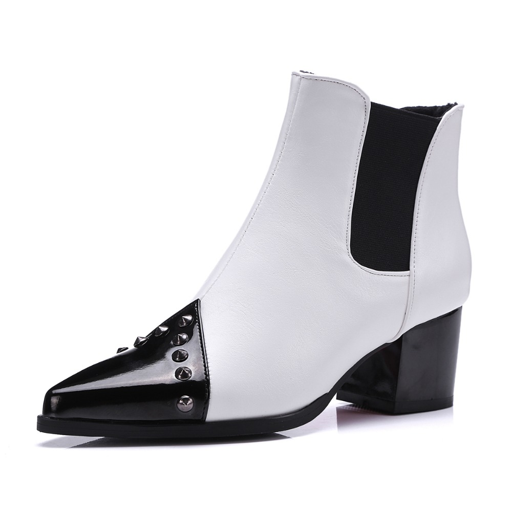 Stylish Women Ankle Boots Nice Rivets Pointed Toe Square Heels High-quality Black White Wine Red Shoes Woman US Size 4-10.5<br><br>Aliexpress