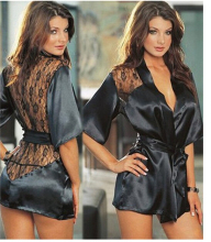 Buy IMC 1PCS Hot Sexy Lingerie Plus Size Satin Lace Black Kimono Intimate Sleepwear Robe Sexy Night Gown Women Sexy Erotic Underwear