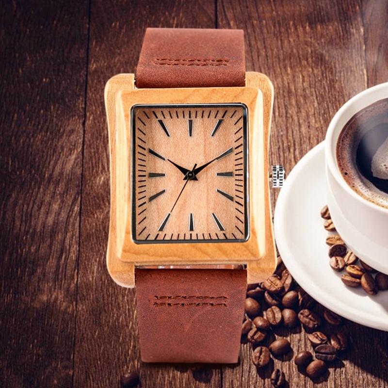 Creative Rectangle Dial Wood Watch Natural Handmade Light Bamboo Fashion Men Women Casual Quartz Wristwatch Genuine Leather Gift 2