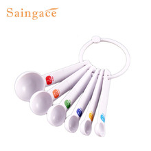 Saingace 6PC White Measuring Spoon Tea Scoop Teaspoon Baking Cooking Kitchen Tool quality first DROP SHIP(China)