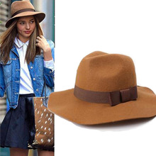 Winter Lady Brown Black Red Wide Flat Brim Wool Fedora Hat For Fashion Women Bowler Felt Fedora Hats With Belt Bonnet Homme