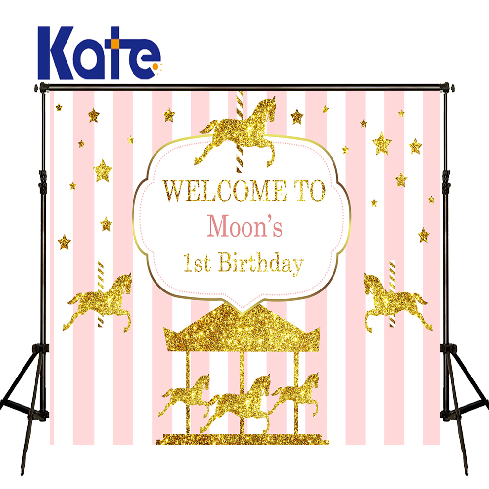 KATE Photo Background Birthday Custom Photography Backdrop Unicorn Party Backdrop Pink And White Striped Backdrop<br>