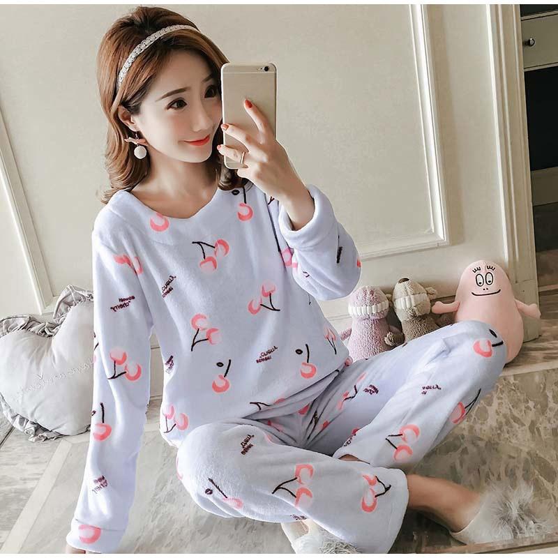 1152feb224 2019 MCCKLE Women Flannel Cute Two Piece Pajama Sets Ladies Kawaii ...