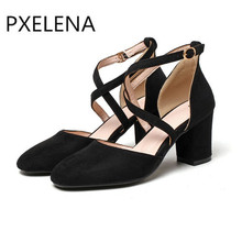 PXELENA Vintage Rome Cross-tied Sandals Woman Flock High Heel Sandals Shoes Ladies Party Dress Shoes Plus Size Black Red A50-2(China)