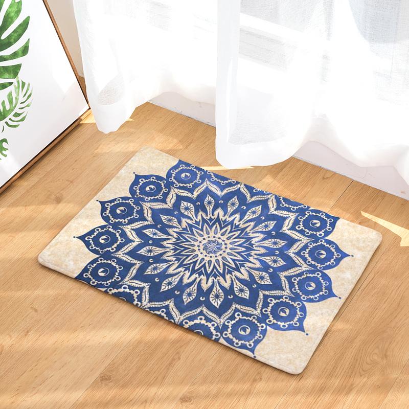 Flannel Floor Mats Round Wreath Printed Bedroom Living Room Carpets Cartoon Pattern Mat For Hallway Anti Slip Tapete