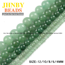 JHNBY AAA Natural Stone Green Aventurine beads Round Loose beads ball 4/6/8/10/12MM Handmade Jewelry bracelet making DIY
