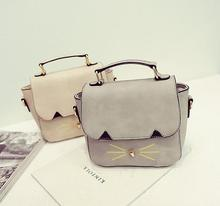 New female bag quality pu leather women bag fashion embroidery cute little kitty handbag shoulder bag retro Messenger packet