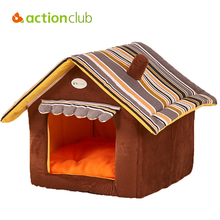 Actionclub Classic Striped Dog House Pet Bed With Warn Mat Dogs Kennel Dog House Pet Sleeping Bag Cat Bed Cat House Cama Perro