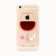 2017 Fashion Christmas liquid drink cocktail red wine goblet glass sexy lips high heels design clear phone pc case For Iphone(China)