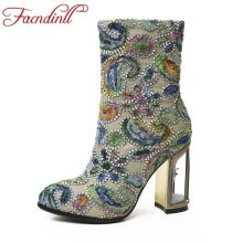 FACNDINLL fashion women high qulaity ankle boots shoes sexy high heels round toe zipper shoes woman party wedding riding boots(China)