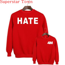 2016 New Brand Wholesale 4MINUTE 4 Minute Kim Hyun A Sweatshirts Act7 HATE Jumper Shirt KPOP 4M Red Hoodies(China)