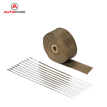 Motorcycle 10M Exhaust Header Wrap Manifold Fiberglass Titanium Insulating Heat Pipe Manifold 10 Cable Ties Car Accessories(China)